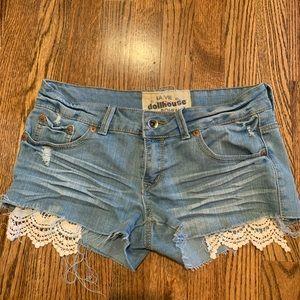 DOLLHOUSE denim crochet shorts